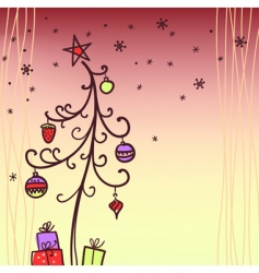 Christmas card with tree vector image vector image