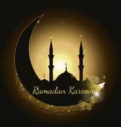ramadan kareem background with mosque silhouette vector image vector image
