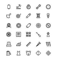 Sewing Line Icons 3 vector image vector image