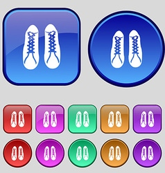 shoes icon sign A set of twelve vintage buttons vector image