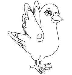 Unpainted funny cartoon pigeon positive vector image vector image