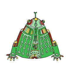 green colored hand drawn aztec frog vector image