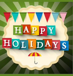 Happy Holidays Retro Card with Flags vector image vector image