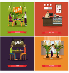 set of pub concept posters in flat style vector image