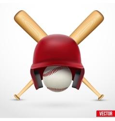 Symbol of a baseball Helmet ball and two bats vector image