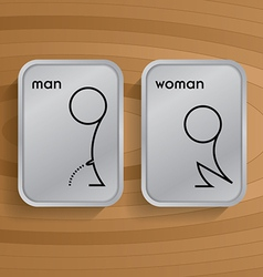toilet signs on wooden vector image vector image