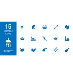 15 turkey icons vector