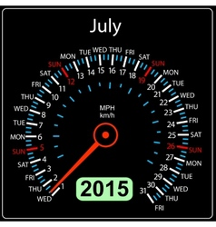 2015 year calendar speedometer car in July vector image