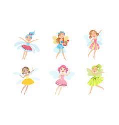 adorable happy little fairies set smiling vector image