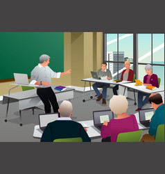 Adults in a college classroom vector
