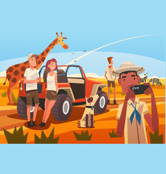 African safari travel tourists watching and vector