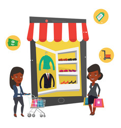 African women using mobile shopping vector