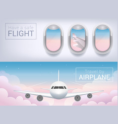 airplane window the tourist banner vector image