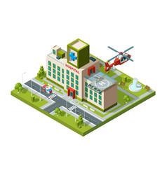 ambulance building emergency transport helicopter vector image