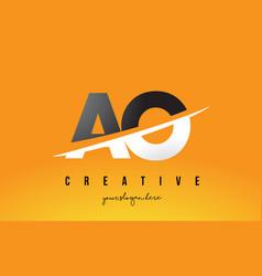 Ao a o letter modern logo design with yellow vector
