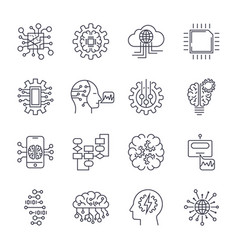 Artificial intelligence icon set editable stroke vector