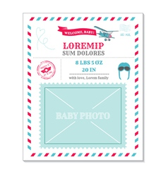 Baby Arrival Card - with Airplane vector