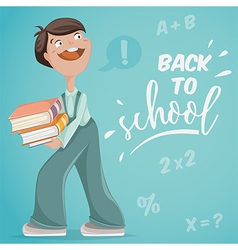 back to school schoolboy with books vector image