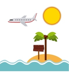 Beach landscape vacations icons vector