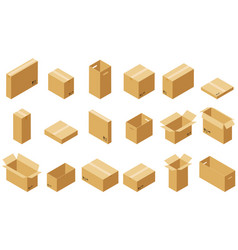 big set of cardboard boxes vector image