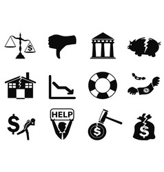 Black bankruptcy icons set vector