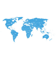Blue political world map with country borders and vector