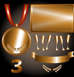 Bronze elements for games and sports vector