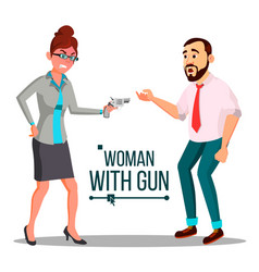 Business woman with gun bankruptcy concept vector
