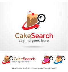 Cake search logo template vector