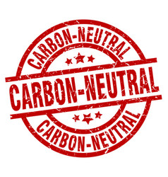Carbon-neutral round red grunge stamp vector