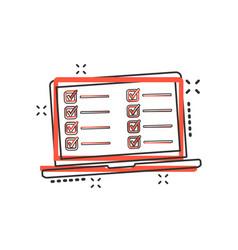 cartoon checklist with notebook icon in comic vector image