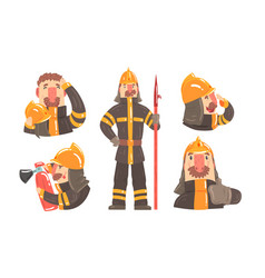 Cartoon male fireman character in different vector