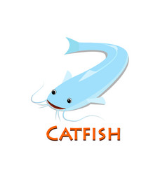catfish isolated on white in flat design vector image