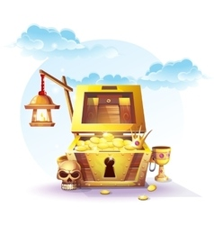 chest gold and a lantern vector image