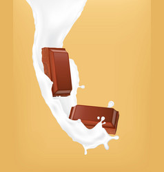 chocolate pieces and milk vector image