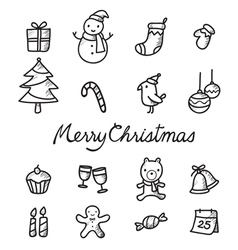Christmas Outline Icons Set Monochrome vector