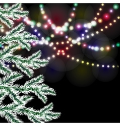 Christmas tree Bright festive lights vector