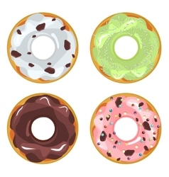 Collection of glazed colored donuts vector