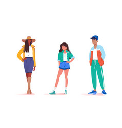 collection stay various male and female poses vector image