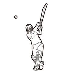 Cricket batsman sport player action cartoon vector