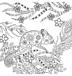 Cute chameleon in flowers vector