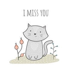 Cute hand drawn doodle card with a cat and flowers vector image