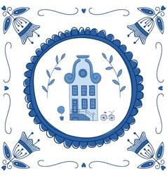 delft blue house vector image