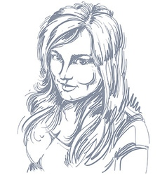 Drawing of smiling sexy flirting woman with vector