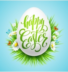Easter lettering poster with spring flower vector image