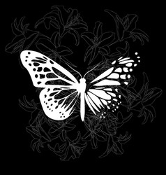 Elegant dark butterfly and lilies vector