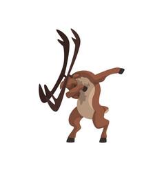 Elk standing in dub dancing pose cute cartoon vector