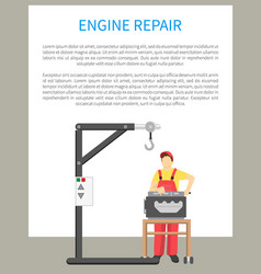 Engine repair poster text vector