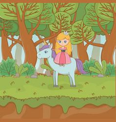 Fairytale landscape scene with princess in unicorn vector