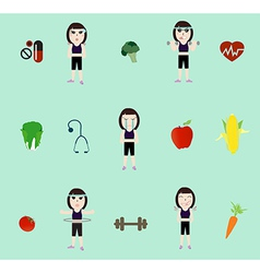 Fitness woman and diet vector